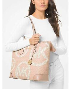 NWT Michael Kors Eva Large Two-Tone Graphic Logo Tote Bag Ballet Pink