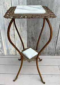 Antique Victorian 2-Tier Gold Gilt Iron, Brass & Marble Plant Stand Table 1880