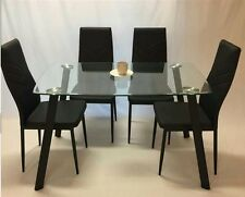 Set of 1x Glass Top Dining Table with 4x pu Letter Chairs chrome & glass