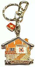 Switzerland Watch KeyChain Swiss Chalet Clock Metal Souvenir Keyring KeyTag Fob