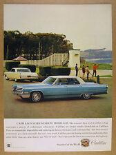1966 Cadillac Sedan deVille blue car photo vintage print Ad