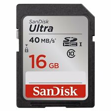 SanDisk 16Go  Ultra Class 10 UHS-I SD 40MB/s Full HD Video SDHC Memory Card