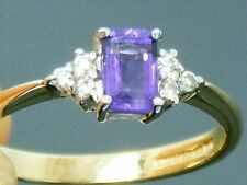 9ct Gold Amethyst & Diamond Hallmarked  ring size O
