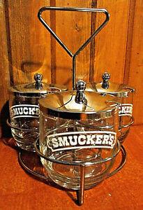 Vintage 3 SMUCKER'S Smokey Brown Glass WHITE LOGO Jelly Jars CHROME LIDS & CADDY