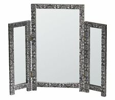 Decorative Embossed Triple Mirror Black Silver Free Standing Table Top Dresser