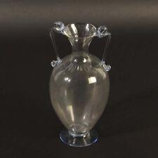 Soffiato Vase ca. 1930 Murano Glas klar reliefiert Henkel blau feinste Qualität