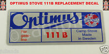 OPTIMUS STOVE 111B REPLACEMENT DECAL STICKER KEROSENE STOVE PRIMUS STOVE