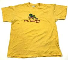 VINTAGE Puerto Vallarta Tree Frog Shirt Men's Size Large Yellow Red Embroidered