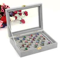 Velvet Glass Jewelry Ring Display Box Tray Holder Storage Box Organizer Boxes