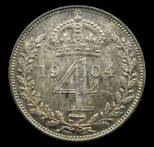 More details for edward vii 1904 silver maundy fourpence - unc