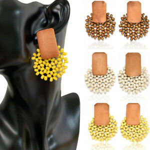Fashion Women Handmade Wood Bamboo Rattan Pendant Dangle Drop Earring Jewelry