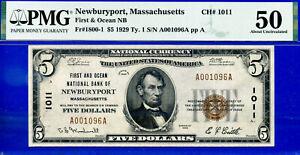 TOP POP CH # 1011 - 1929 $5 (( FINEST Known - Newburyport, MS )) PMG 50-
