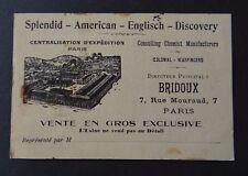 Carte de visite BRIBOUX Conulting chimist manufacturers PARIS old visit card
