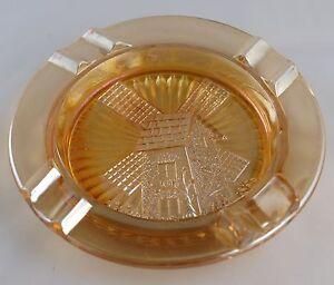 Carnival Glass WINDMILL Ashtray - 1920s - 30s - Marigold