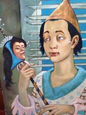 VTG CLOWN Painting Jester Harlequin Pierrot  Signed Louis Duchamp TA88