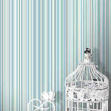 MARTEZ BLUE WHITE SILVER BEIGE STRIPES COLOROLL FEATURE DESIGNER WALLPAPER M0799