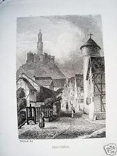 Felsberg   Hessen echter alter Stahlstich 1844