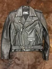 FMC MEN'S MOTO BLACK LEATHER JACKET MOTORCYCLE BIKER SIZE 38 SMALL MEDIUM SLIM