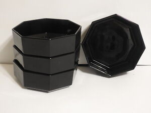 Set of 4 Arcoroc Octime Octagon Black Cereal Soup Bowls -  Made in France
