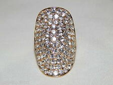 Beauty Stunning Gold with Clear Rhinestone Crystal Stretch Bridal Ring