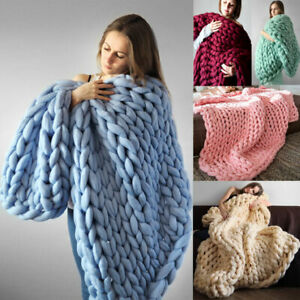 LUXURY FAUX WOOL CHUNKY CABLE KNIT HAND-WOVEN SOFA BED CHAIR BLANKET THROW