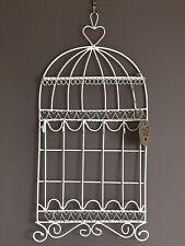 Cream Metal Wire Birdcage Jewellery Holder Stand Tree Hanging Bedroom Storage