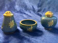 Vintage Chinese Cloisonné Salt Cellar & Pepper Shakers - Green & Yellow on Blue