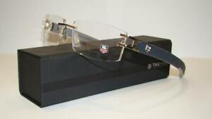 Tag Heuer L-Type 0120 014 Alligator Soft Blue Rimless Eyeglasses Frames Size 58