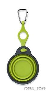 NEW Green Bottle Holder with Travel Cup Bowl for Dogs with Carabiner by Dexas