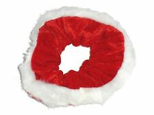 Women Girls Red White Christmas Velvet Fur Scrunchie Hair Bobble Elastic Xmas