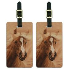 Horse Portrait Peach Luggage ID Tags Suitcase Carry-On Cards - Set of 2