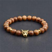 8mm Wooden Bead Chakra Leopard Head Bracelet tassel Lucky Meditationenergy yoga