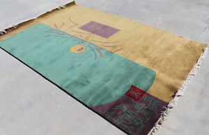R14047 Dual Color Ground Superb Tibetan Woolen Rug 6' X 9' Handmade in Nepal
