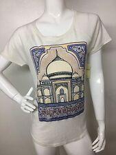 Lucky Brand New Woman's Cream Lucky Taj Mahal Short / S Top Tee T-Shirt L NWT