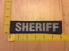 "Sheriff Patch - 1 1/2"" X 6"" On Hook Backing, Grey On OD Green (item 1109)"