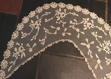 Antique Handmade Brussels Bobbin Lace application on Net Collar Craft