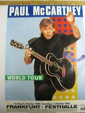 THE BEATLES McCARTNEY WORLD TOUR POSTER FRANKFURT GERMANY 10/6+7/1989