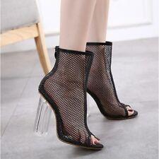 Botines botas verano mujer en negro transparente talón 12 cm como piel CW450