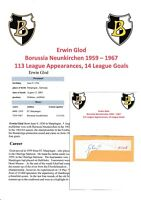 ERWIN GLOD BORUSSIA NEUNKIRCHEN 1959-1967 RARE ORIGINAL AUTOGRAPH CUTTING/CARD