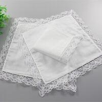 5pcs Cotton Women Ladies Handkerchief Decorative Hanky Lace White Hankies Pocket