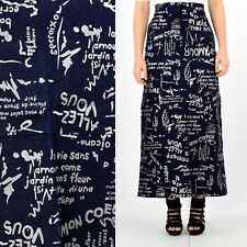 36517323 90s Vintage Subway Art Skirt Denim Maxi Skirt Silver Graphic Print No Doubt  4 6