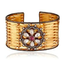 Unique Net Design Handcrafted 925 Sterling Silver Cuff Bracelet With Gold Plated