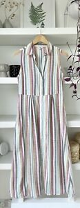 FAT FACE beautiful striped maxi cotton blend summer dress with pockets! Uk8/10