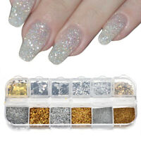 Nail Art Glitter Powder Dust UV Gel Acrylic Powders Sequins Christmas Nail Tips