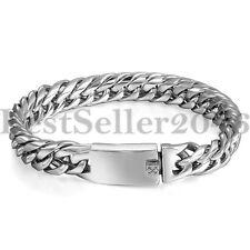 "Mens Boys Stainless Steel 12MM Cuban Curb Chain Link ID Biker Bracelet 8.7"""