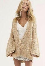 Free People Womens Small Quarter-Zip Pullover Sweater Beige S