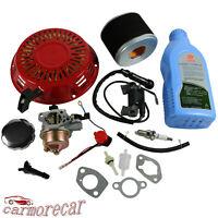 Recoil Carburetor Air Filter Ignition Coil Spark Plug Kit For Honda GX270 GX240
