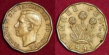 3 pence 1943 IND IMP George VI GREAT-BRITAIN Grande-Bretagne