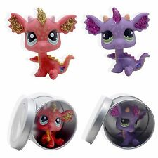 2pcs Littlest Pet Shop #2660 #2484 Violet & Rouge sparkle glitter dragon LPS