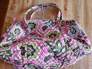 Vera bradley large pink with flowers duffel travel bag